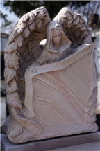 Sandstone Angel Sculptured Gravestone