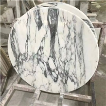 Arabescato Marble Table Top, Italian White Marble