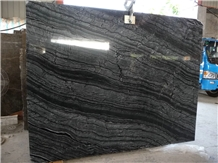 Black Wooden Vein Marble Slab,Glossy Project Tiles