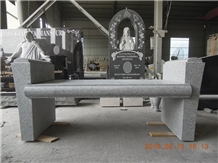 America Grey Granite Tombstone Bench