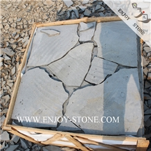 Sawn with Natural Edge Basalt/Andesite Crazy Paver
