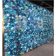 Composite Semi Precious Blue Agate Stone Slabs