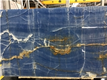 Finely Blue Marble Onyx Wall Bookmatch Slab Tiles