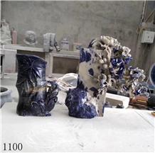 Azul Bahia Marble Blue Natural Stone Table Vase