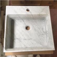Biance Carrara White Marble Square Wash Basins