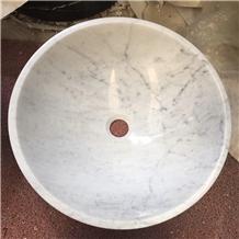 Carrara White Marble Round Basin Natrual Stone