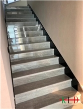 China Peirce Ash Marble Stair,Grey Stone Staircase