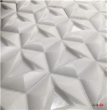 Crystal White Marble 3d Cnc Craved Design Wall