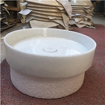 Crystal White Marble Round Basin Natural Stone