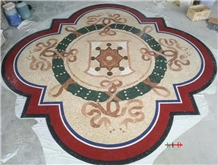 Floor Inlay Mosaic Marble Medallion Pattern
