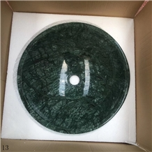 Ming Green Marble Natural Stone Round Basin