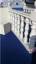 New Aristone White Marble Stair Carved Handrail