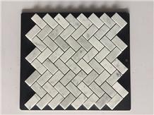 Polished White Brown Marble Herringbone Mosaic