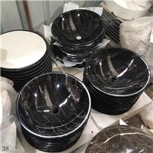 Silver Dragon Marble Black Wash Basins Stone Bowls