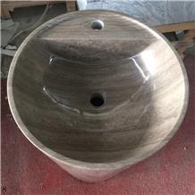 Wooden Grey Standing Basin Natural Stone Basin