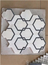 Calacatta Carrara Hexagon Marble Mosaic Tiles