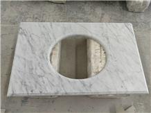 Italy Bianco Carrara White Marble Bath Vanity Top
