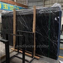 Nero Marquina Black Marble Tiles Slabs,White Veins