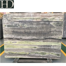 Chinese Emerald Green Jade Wood Marble Slab