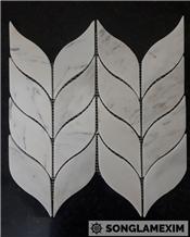 Milk White Marble Laminated Mosaic Leaf Mosaic