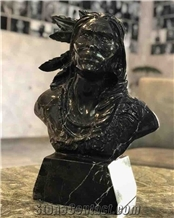 The Indian- Black Marble Stone Carved Bust