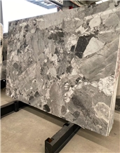 Pandora Grey Marble Slab, Big Grain Fossil Grey