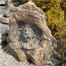 Natual Stone Of Black Marble Lion