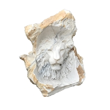 White Carved Marble Lion Statues