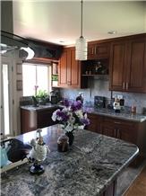 White Granite Residential Kitchen Countertop