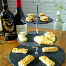 Round Nice Black Slate Cheese Board