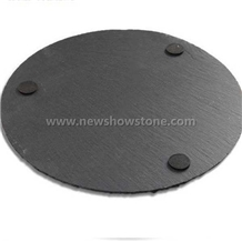 Small Size Round Black Slate Cheese Board