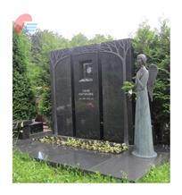 Black Granite Monument Set with Antiqued Angel
