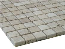 Iran White Travertine Tumbled Mosaic Tiles