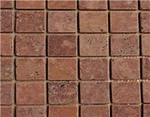 Persian Red Travertine Tumbled Brushed Mosaic