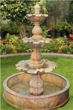 Teak Wood Sandstone Stone Fountain
