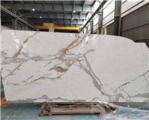Italy Calacatta Gold Oro Marble White Slabs Tiles
