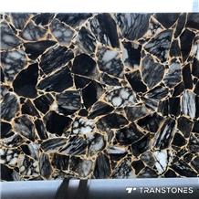 Gold Veins Black Real Onyx Slices Alabaster Sheet