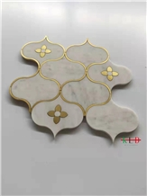 Water-Jet Metal Mosaic Clover Pattern Kitchen Wall