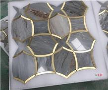 Water-Jet Metal Mosaic Floor Tiles Covering