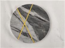Carrara Grey Marble Round Trays for Home Decor