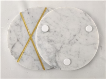 Carrara White Marble Trays Handicraft Carving