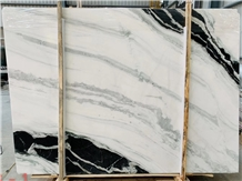 China Landscape Painting Panda White Marble Slabs