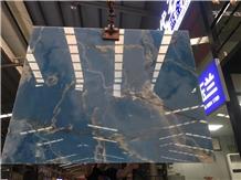 Persian Golden Blue Onyx Slabs Onice Azul Tiles