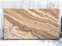Yellow Golden Brown Wood Grain Onyx Slab