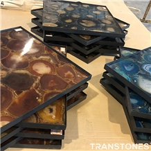 Translucent Natural Agate Semiprecious Stone Shower Wall Panel