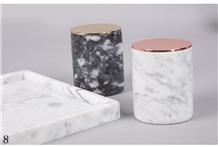 Cylinder Shape Marble Stone Tealight Candle Holder