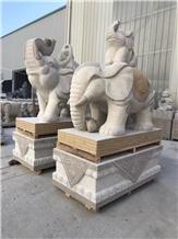 Golden Animal Elephant Statues Granite Carving
