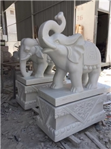 Pure White Marble Elephant Stone Sculpture Outside