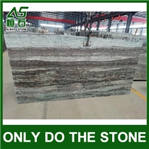 China Light Green Wood Marble with Grey Line