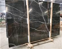 Nero Marquina Black Marble Slab Tile Floor Wall